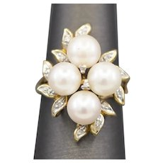 Vintage Pearl Cluster and Diamond Accent Cocktail Ring in 14k Yellow Gold