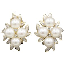 Pearl and Diamond Accent Cluster Earrings with Omega Backs in 14k Yellow Gold