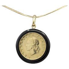 Vintage Italian Lira Coin Pendant on Black Onyx Frame in 14k Yellow Gold