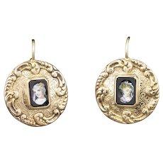 Victorian Painted Portrait Earrings in 14k Yellow Gold