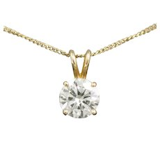 Sparkling 2.20ct Moissanite Solitaire Pendant Necklace in 14k Yellow Gold