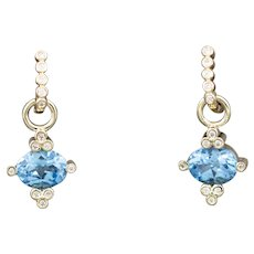 Diamond Hoop Dangle Earrings with Blue Topaz and Diamond Charms in 14k Yellow Gold