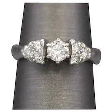 Petite Diamond Seven Stone Engagement Wedding Ring in Platinum