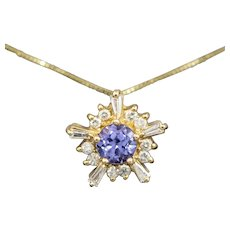 Brilliant Tanzanite and Diamond Starburst Pendant Necklace in 14k Yellow Gold