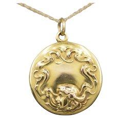 Antique Art Nouveau Locket in 14k Yellow Gold