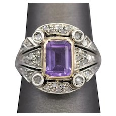 Victorian Revival Amethyst and Rose Cut Diamond Cocktail Ring