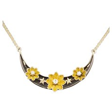 Victorian Flower and Star Crescent Old Mine Cut Diamond Necklace in 14k Yellow Gold