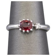 Handcrafted Natural Red Spinel and Diamond Crown Ring in 14k White Gold