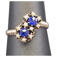 Victorian Pearl and Sapphire Paste Toi et Moi Ring in 14k Rose Gold