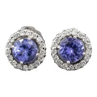 Stunning Violet Tanzanite and Diamond Studs in 14k White Gold