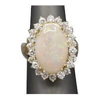 Vintage Pinfire Opal and Diamond Cocktail Ring in 14k Yellow Gold