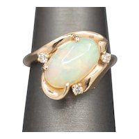 Vintage Opal and Diamond Ring in 14k Rose Gold