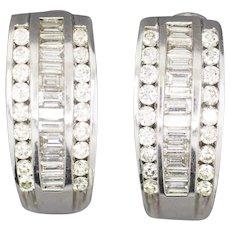Stunning 1.94ctw Diamond J Hoop Earrings in 14k White Gold with Omega Backs