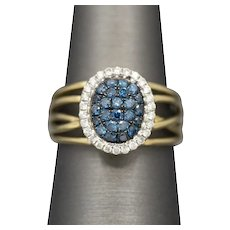 Sparkling Blue and White Diamond Band Ring in 14k Yellow Gold