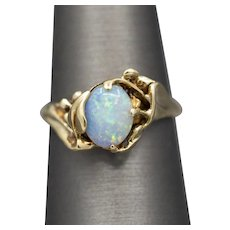Vintage Handcrafted Blue Opal Freeform Organic Ring in 14k Yellow Gold