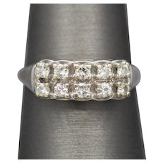 Vintage Diamond Double Row Wedding Band Ring in 14k White Gold