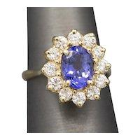 Stunning Tanzanite and Diamond Ring in 14k Yellow Gold