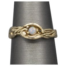 Handcrafted Opal Stackable Twisted Organic Ring in 14k Yellow Gold