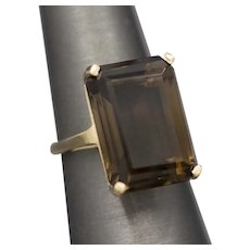 Vintage Bold Smoky Quartz Cocktail Ring in 10k Yellow Gold