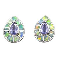 Striking Opal and Tanzanite Stud Earrings in 14k White Gold