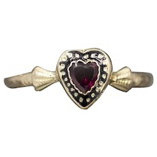 Sweet Victorian Garnet Heart Ring in 14k Yellow Gold