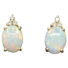 Vintage Opal and Diamond Stud Earrings in 14k Yellow Gold