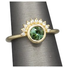 Handcrafted Green Tourmaline and Diamond Sunrise Ring in 14k Yellow Gold