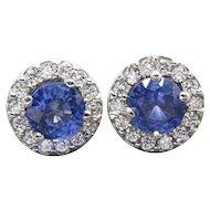 3.00ctw Cornflower Blue Sapphire and Diamond Halo Stud Earrings Handmade 14k
