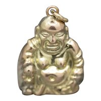 Vintage Sitting Buddha Charm in 14k Yellow Gold
