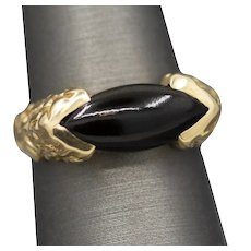Black Coral East West Ring in 14k Yellow Gold