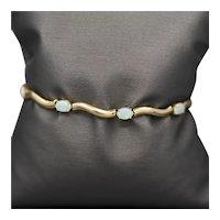 Opal Tennis Link Bracelet in 14k Yellow Gold