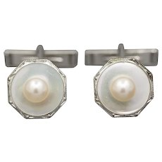 Vintage Sterling Silver and Pearl Cufflinks