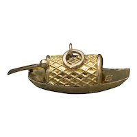Vintage Sampan Fishing Boat Charm in 14k Yellow Gold