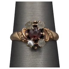 Victorian Gray Moonstone and Garnet Cocktail Ring in 10k Rose Gold