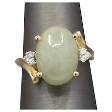 Vintage Jadeite and Diamond Ring in 10k Yellow Gold