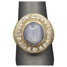 Men's Blue Star Sapphire and Diamond Ring in 14k Yellow Gold