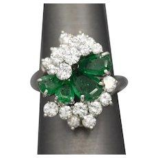 Brilliant Mid-Century Emerald and Diamond Spray Cocktail Ring in Platinum