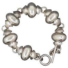 Vintage Taxco Mexico Sterling Silver Modernist Toggle Bracelet