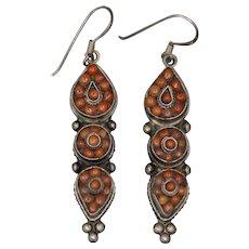 Vintage Tribal Coral Dangle Earrings in Tibetan Silver