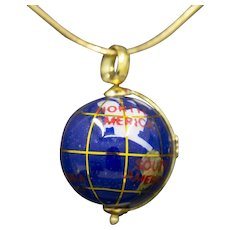 Vintage Spinning Globe Charm Pendant in 18k Yellow Gold