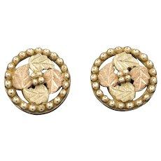 Vintage Black Hills Gold Wreath Stud Earrings in 10k Gold