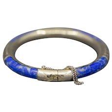 Vintage Lapis Circular Bangle Bracelet in Sterling Silver