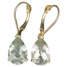Sparking Green Amethyst Dangle Earrings with Lever Back Clasps in 14k Yellow Gold