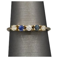 Petite Sapphire and Diamond Stackable Band Ring in 14k Yellow Gold