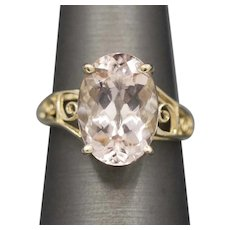 Brilliant Oval Morganite Cocktail Ring in 14k Yellow Gold