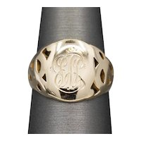 Antique Engraved Signet Ring in 14k Yellow Gold