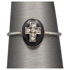 Rose Cut Diamond and Black Enamel Mourning Conversion Ring in 14k