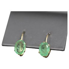 Vintage Natural Emerald Lever Back Earrings in 14k Yellow Gold