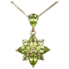 Lovely 5.00ctw Peridot Cluster Pendant Necklace in 14k Yellow Gold