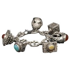 Mid-Century Bold Gemstone Charm Bracelet in 800 and Sterling Silver